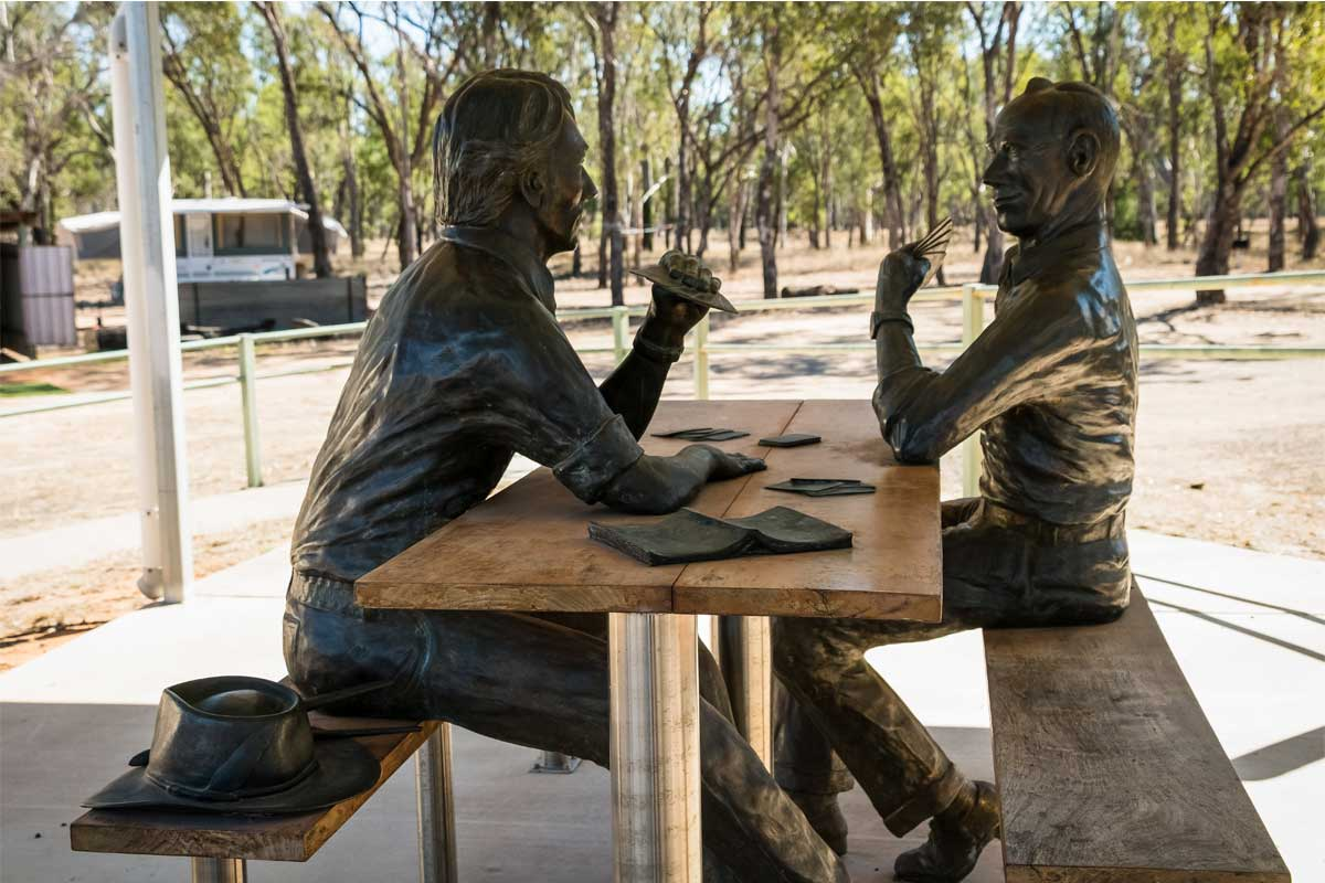 life-sized bronze sculptures of Hugh Sawrey and Nelson Dwyer